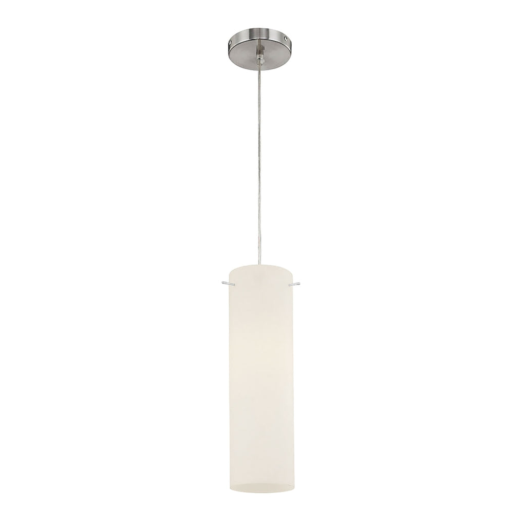 Tubo 1-Light Mini Pendant in Chrome with White Opal Glass