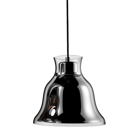 Bolero 1-Light Mini Pendant in Chrome with Bell-shaped Glass and Interior Metal Shade