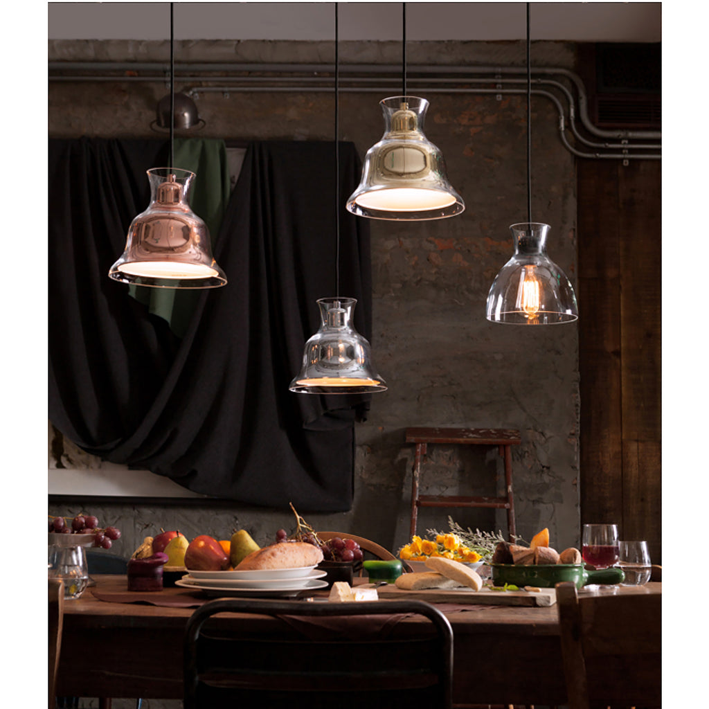 Bolero 1-Light Mini Pendant in Gold with Bell-shaped Glass and Interior Metal Shade