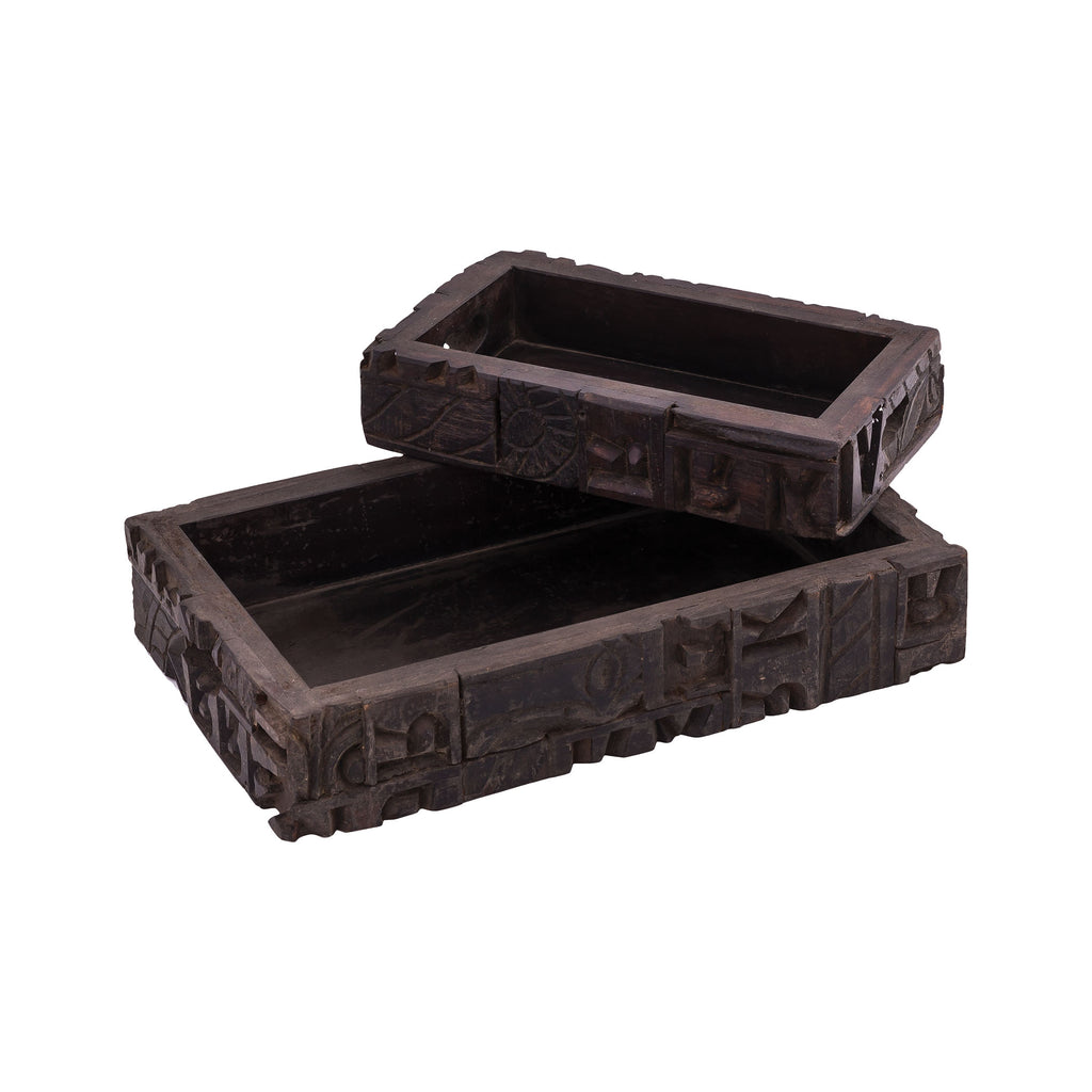 Carved Block Claded Trays (Set of 2)