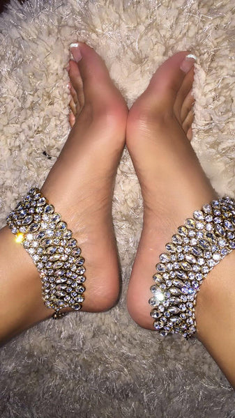 Aricia Anklets Rhinestone Gold Foot Jewelry SoVein