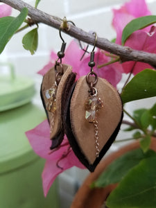 Botanical Hide Earrings: Layered Bark