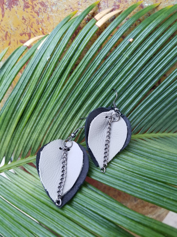 Botanical Hide Earrings: Charcoal