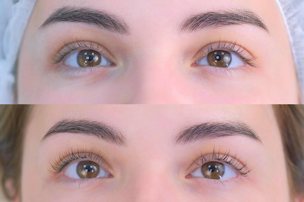Before and after image of woman lash lift treatment
