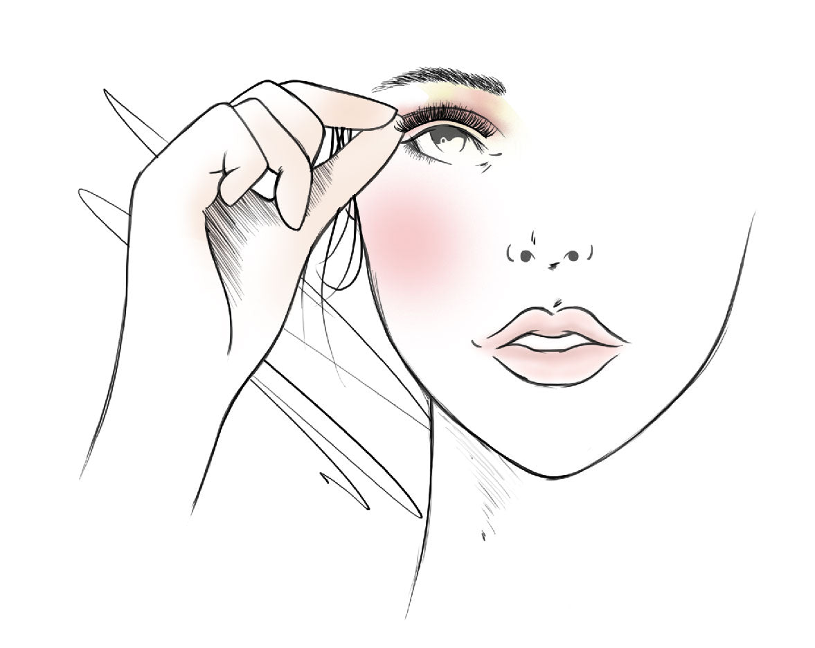 Apply your lashes with a pair of tweezers or with your fingers.