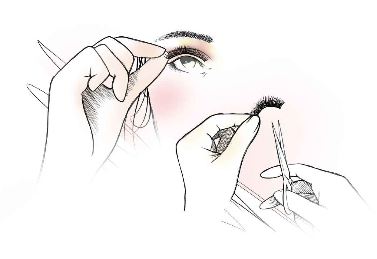 Trim lashes to the correct length.