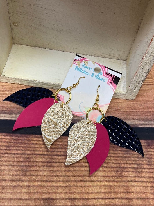 Hot Pink Gold and Black Earrings