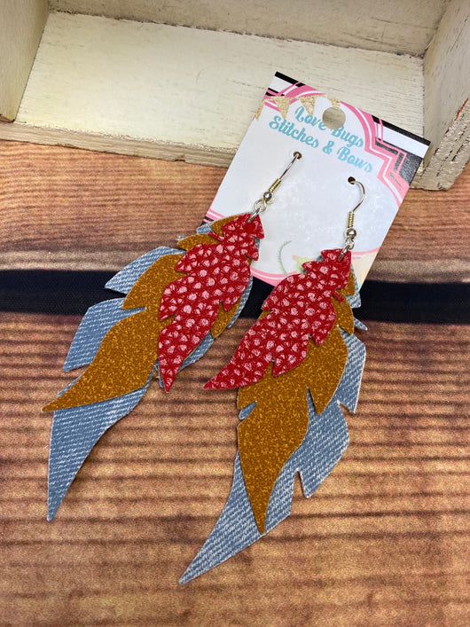 Denim and Red Feather Earrings