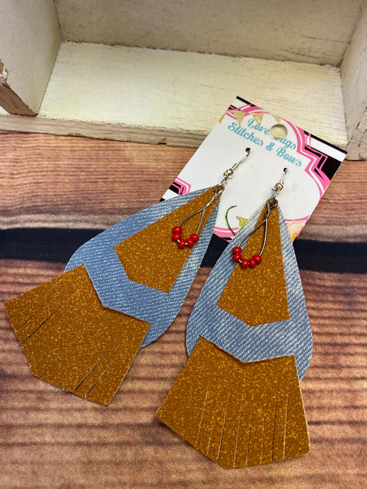 Denim Tri Fringe Earrings