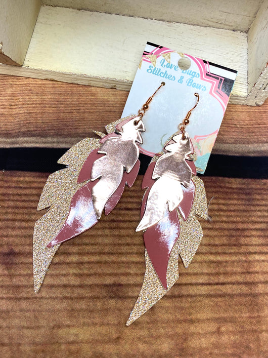 Mauve and Good Feather Earrings