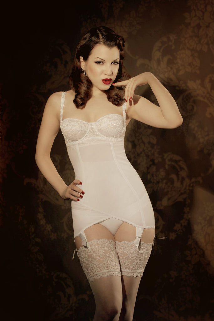 Retro shapewear bodybrief corselette in white lace and powernet with sepia vintage background