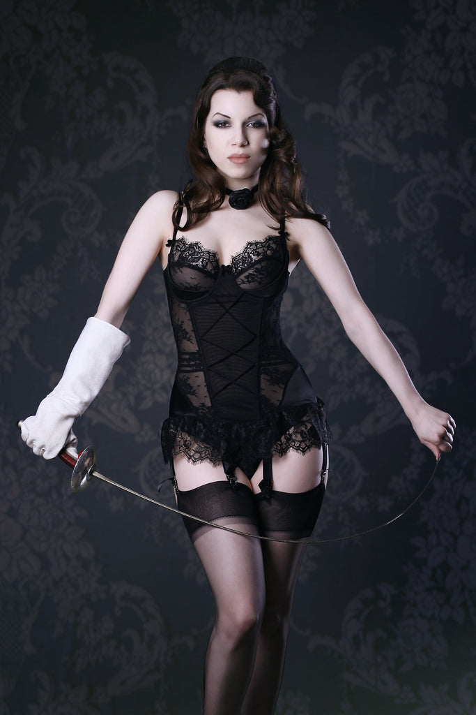 """""""Vintage Dior inspired black lace retro skirted basque with velvet trims"""""""
