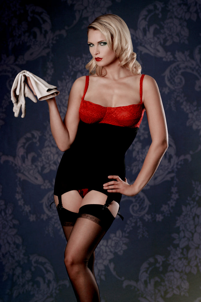 Retro shapewear corselette in red lace and black powernet