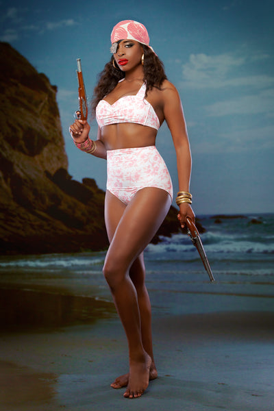 Retro white and pink rose print bikini with vintage style high waist bottoms and halter top