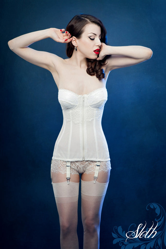 Beth Vintage style ivory low back front fastening 6-strap basque, retro styled model portraying the deadly sin sloth