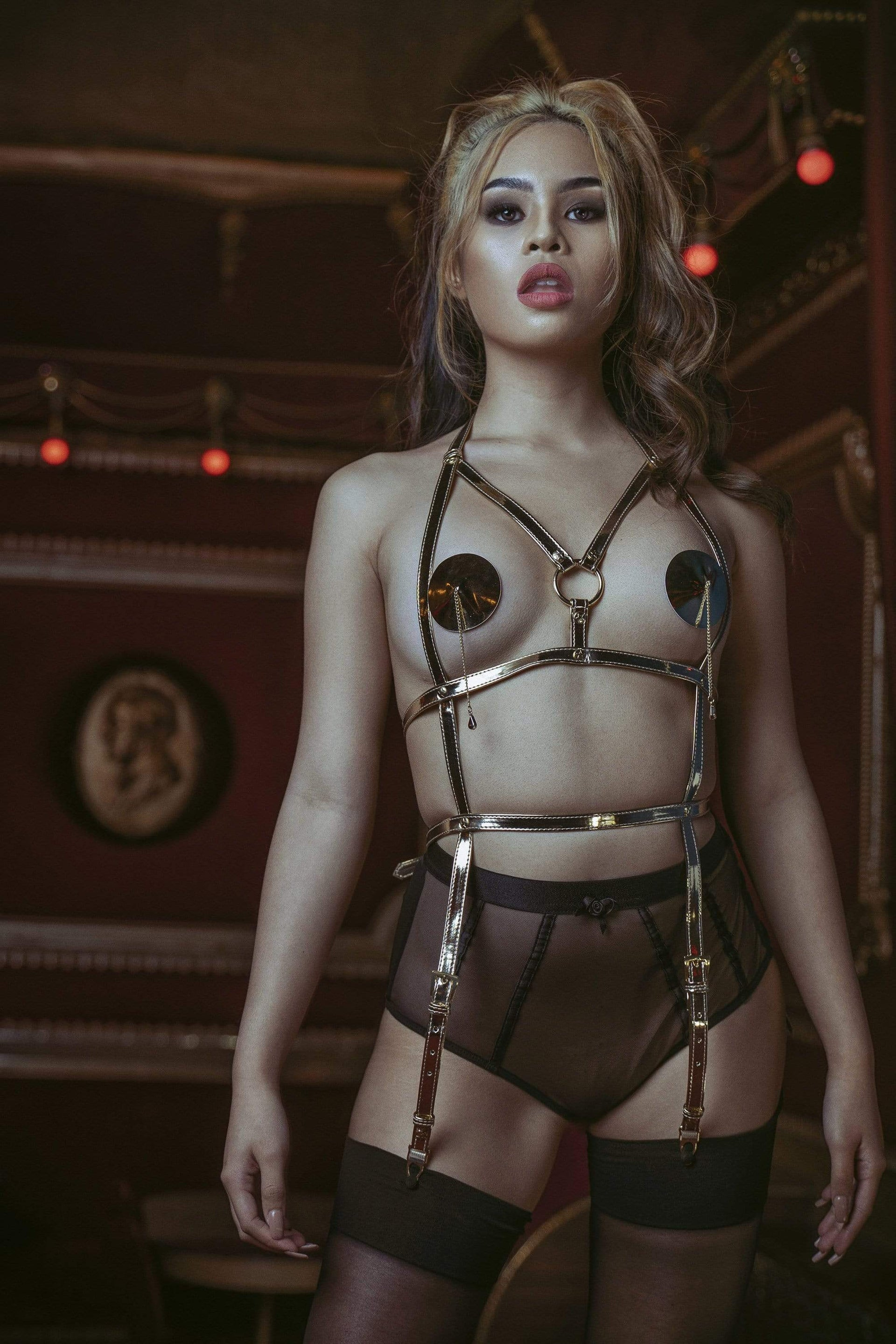 Regalia Open Suspender Harness Gold