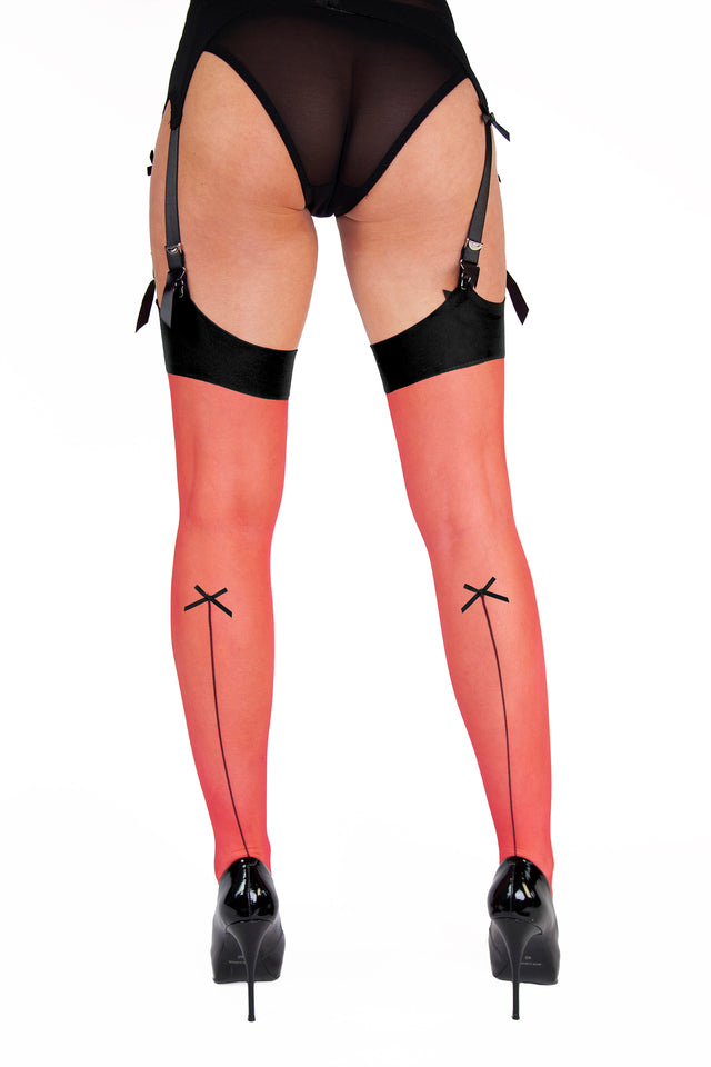 Playful Promises Bow Seamed Stockings Lollipop Red XS-4XL