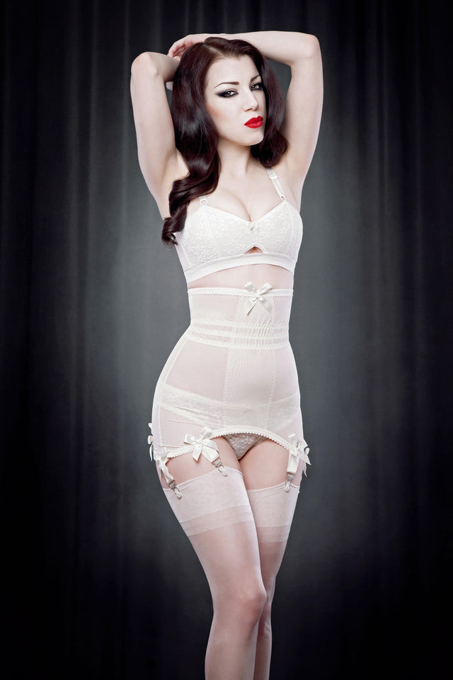 Pre-Order Kiss Me Deadly Retro Classics Ivory Longline Girdle S-XL