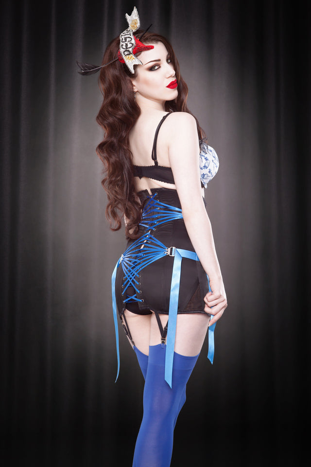 Made To Order Blue Fan Lace Girdle