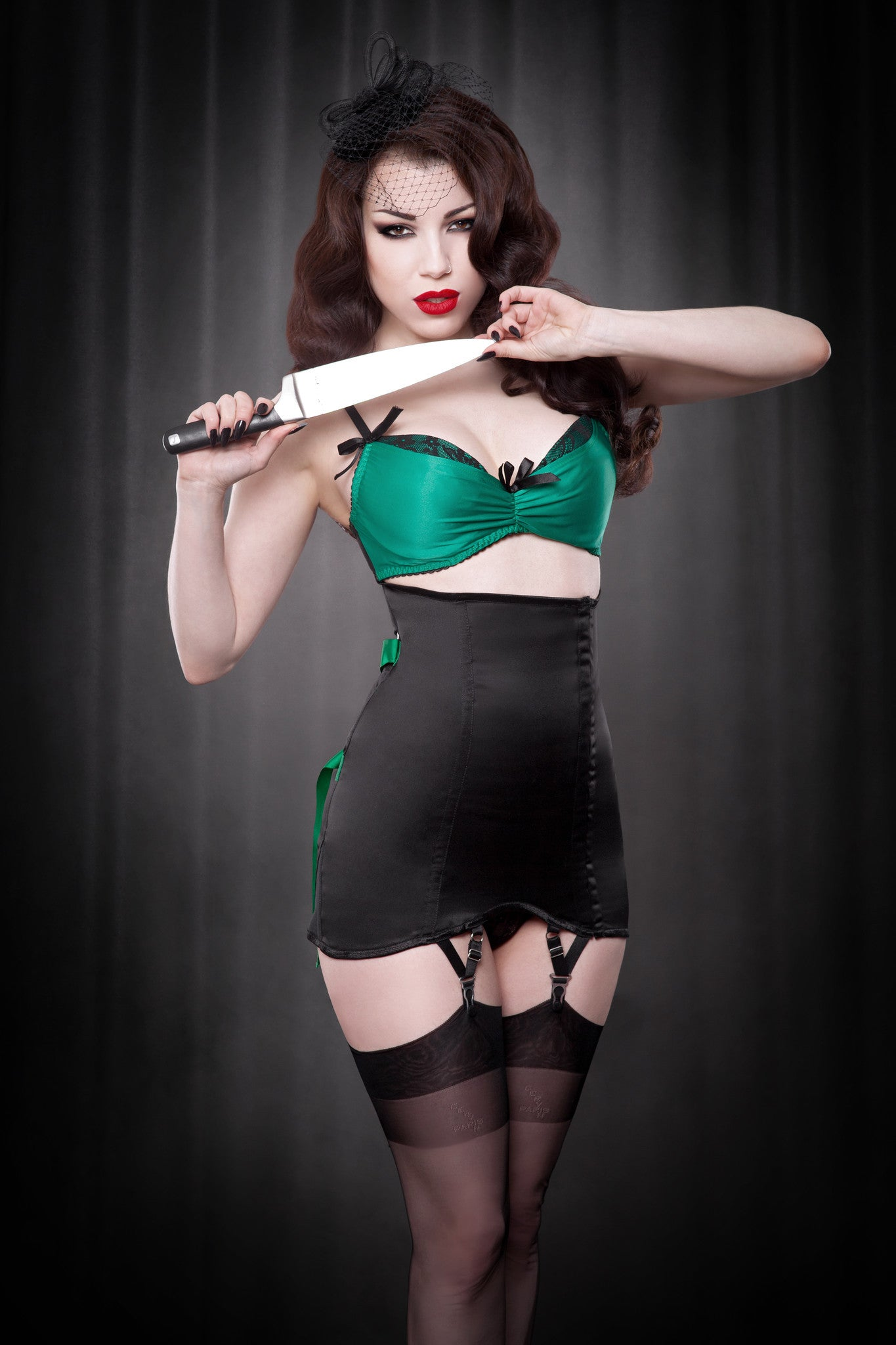 Made To Order Emerald Ribbon Fan Lace Girdle