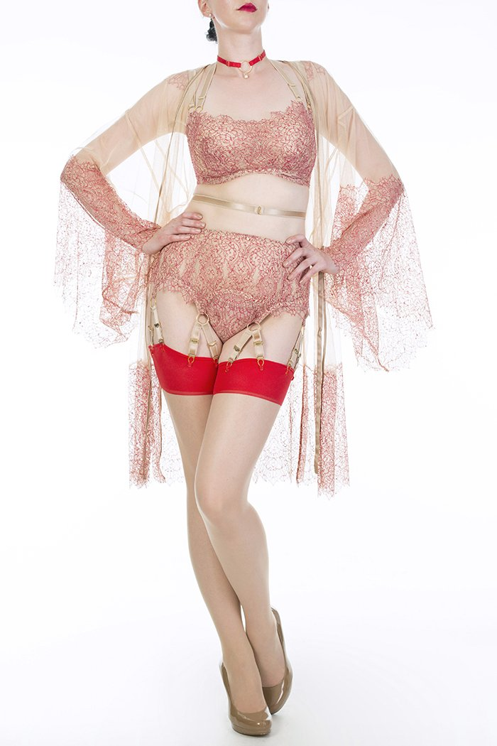Aurora Red lace boudoir lingerie and garter belt