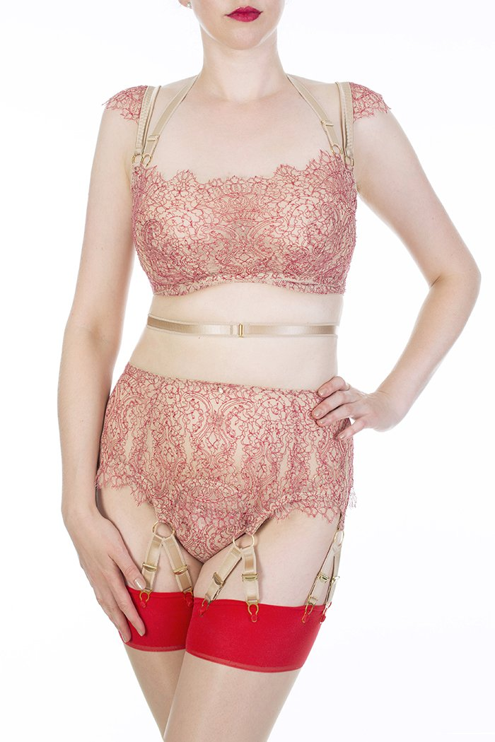 Aurora Red lace full bust bralette and multi strap suspender belt