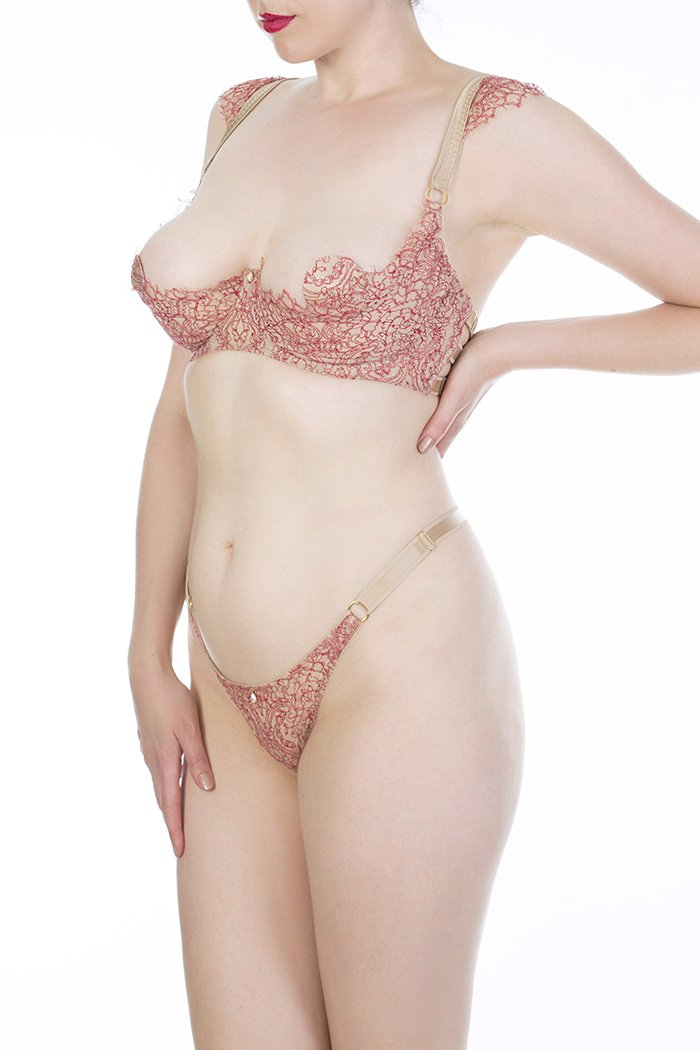 Aurora Red lace and gold strapping thong and open cup bra