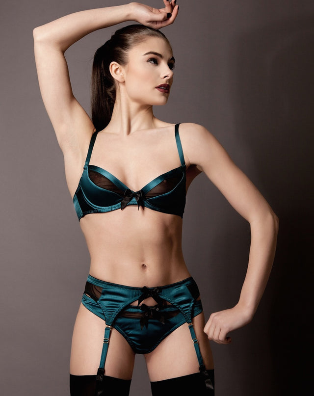 Grace Petrol Silk Suspender Belt