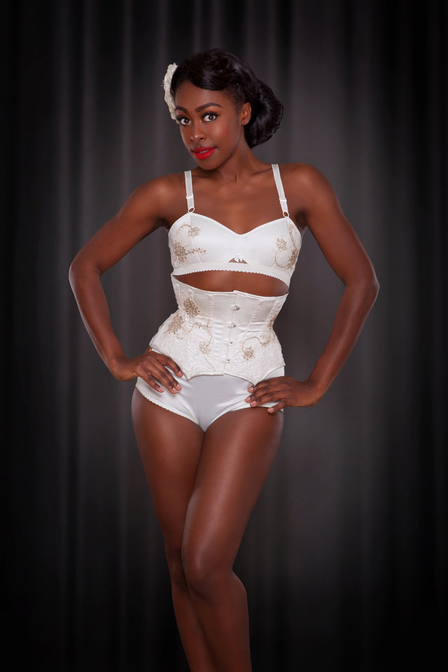 Made To Order Ivory Silk and Gold Applique Louisa Corset