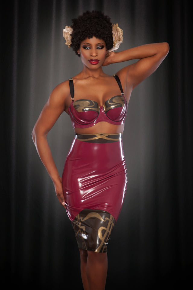 Rose Noir Latex Nouveau Pencil Skirt
