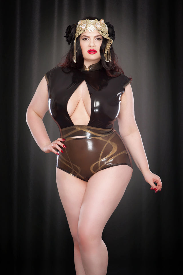 Rose Noir Latex Nouveau Cut-Out Top