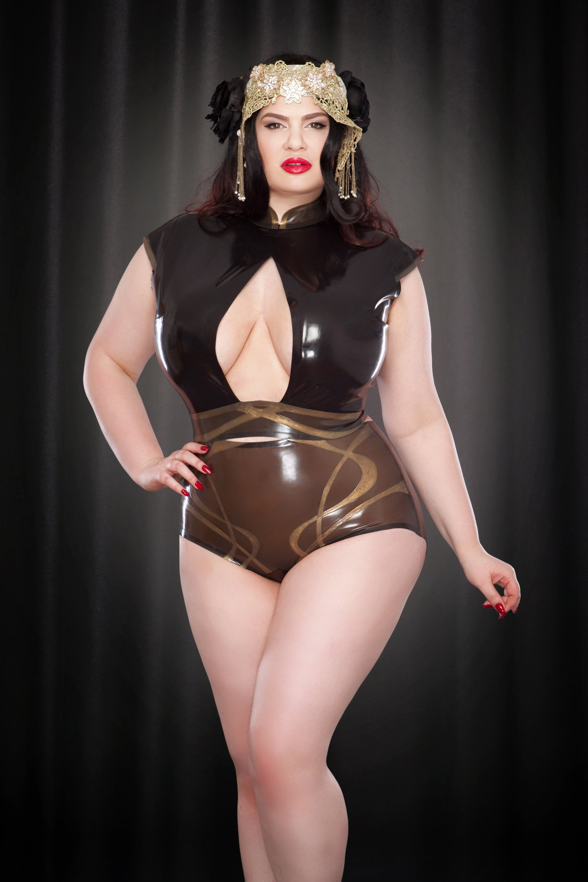 Rose Noir Latex Nouveau High Waisted Briefs