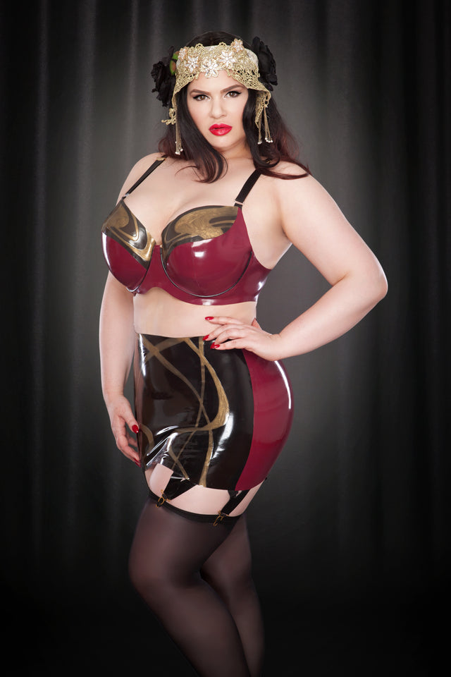 Rose Noir Latex Nouveau Girdle Skirt