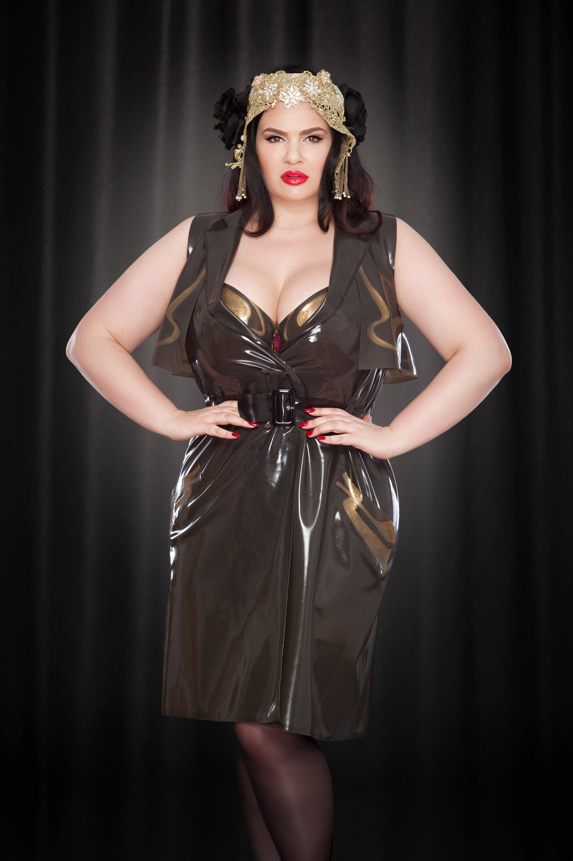Rose Noir Latex Sleeveless Trench Coat
