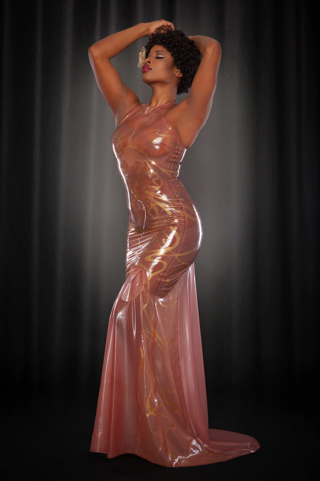 Rose Noir Mucha Latex Gown