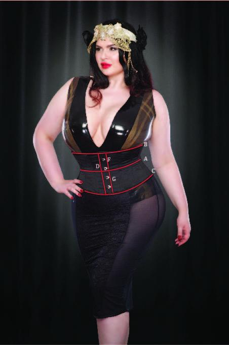 KMD Black Satin and Gold Applique Louisa Corset