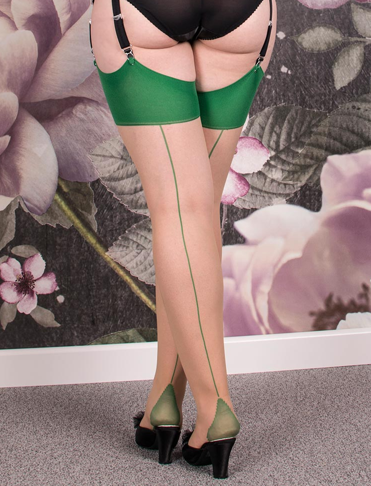 Champagne with Emerald Contrast Seamed Stockings