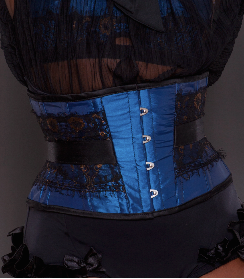 Made To Order Blue Taffeta Bronze and Black Lace Emma Corset