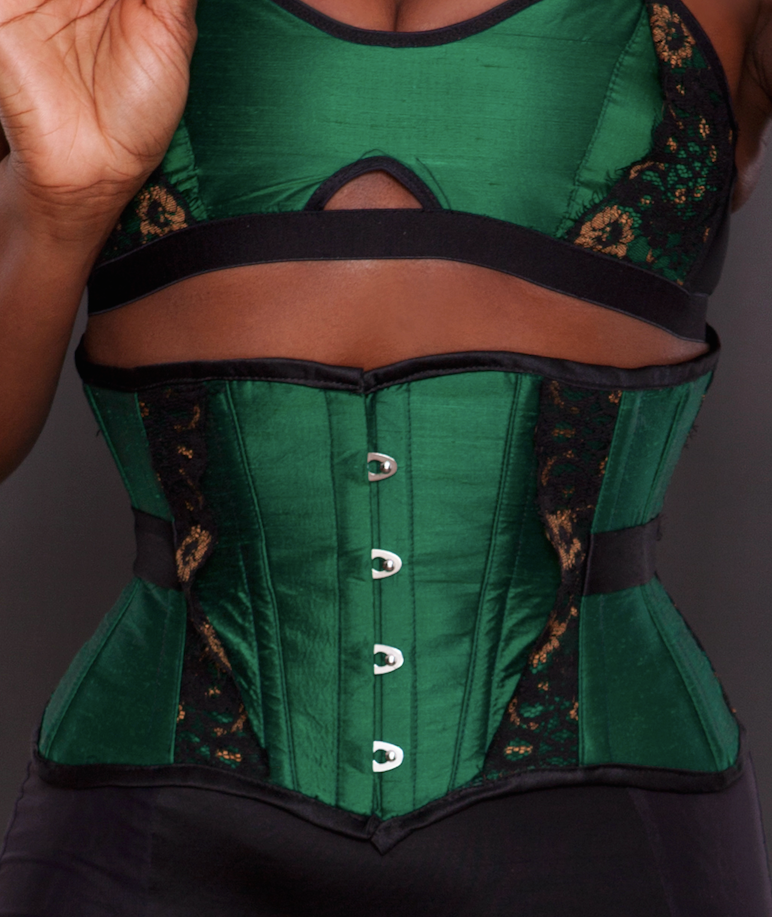 Made To Order Emerald Silk Taffeta Black Bronze Lace Charlotte Underbust Corset