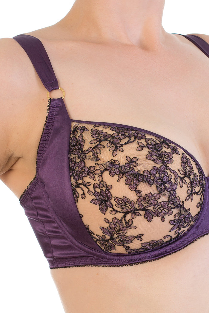 Serena Violet Silk and Embroidered Tulle Full Cup Bra 30-38 DD-G
