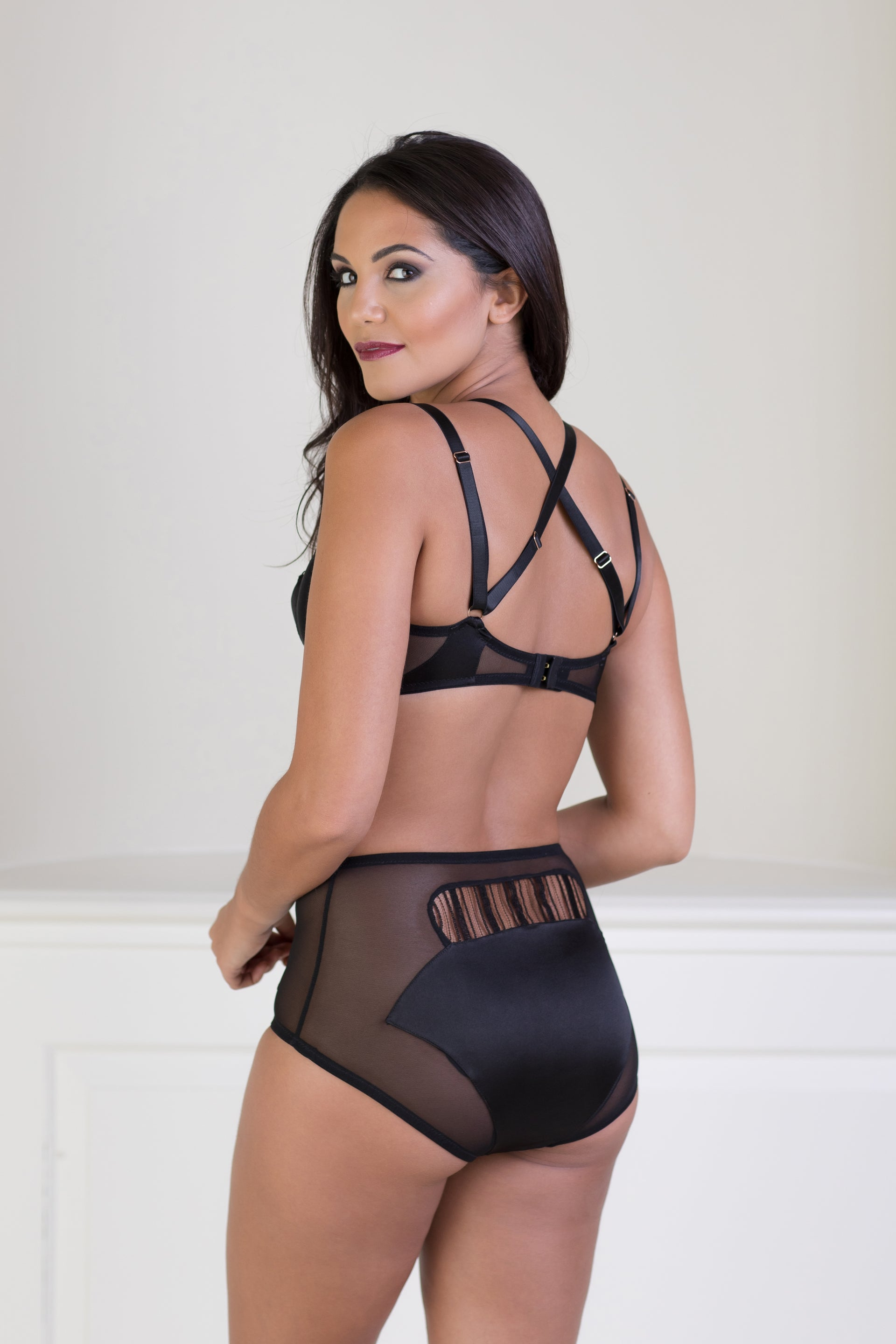 Theodora Midnight Black Silk High Waisted Brief