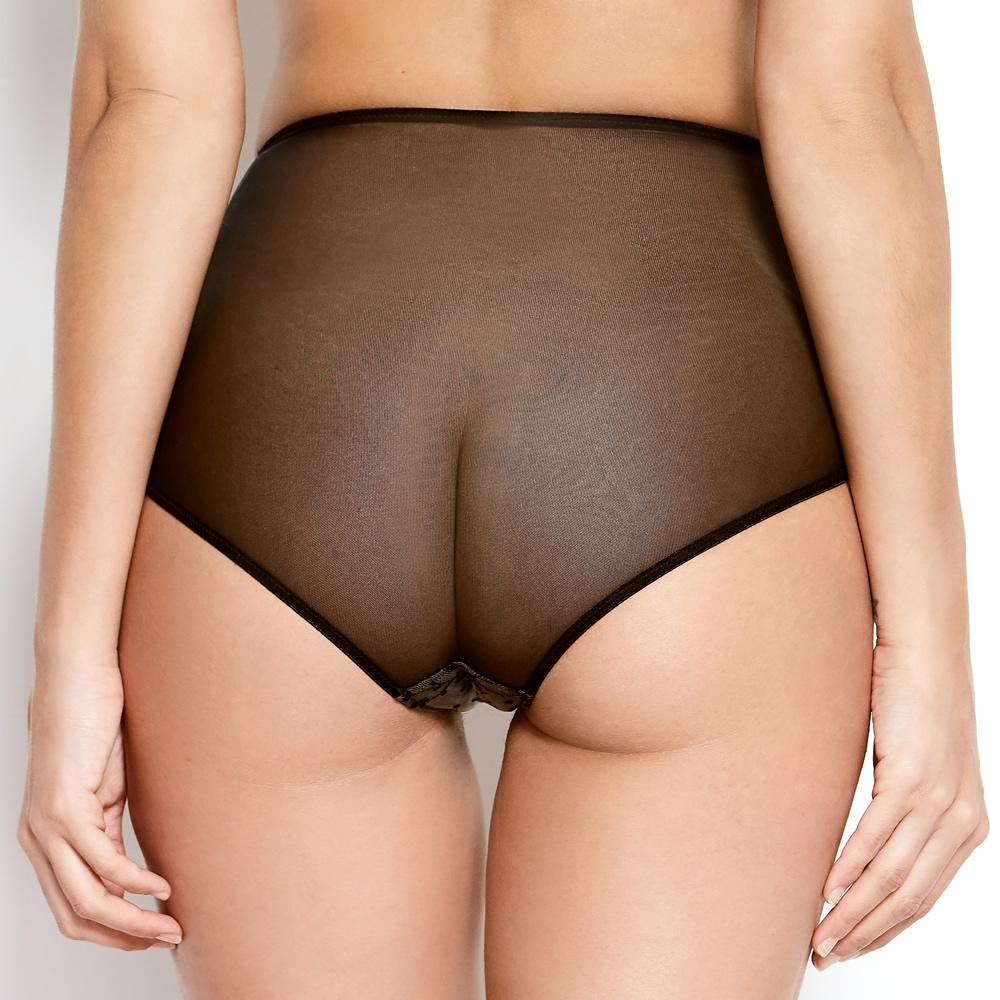 Katherine Hamilton Abrielle Black Embroidered High Waisted Knickers - New 2020 Seamless Design