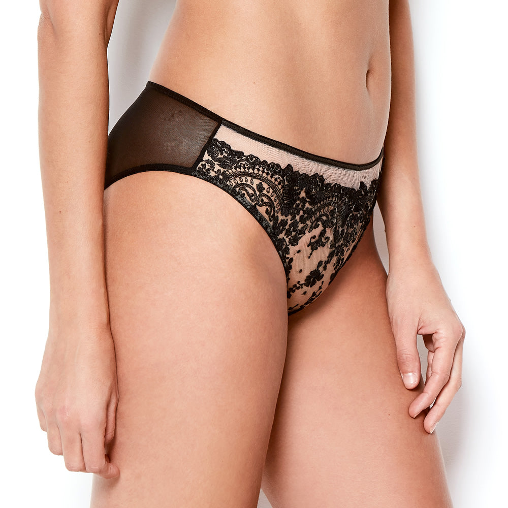 Pre-Order Katherine Hamilton Abrielle Black Embroidered Knickers