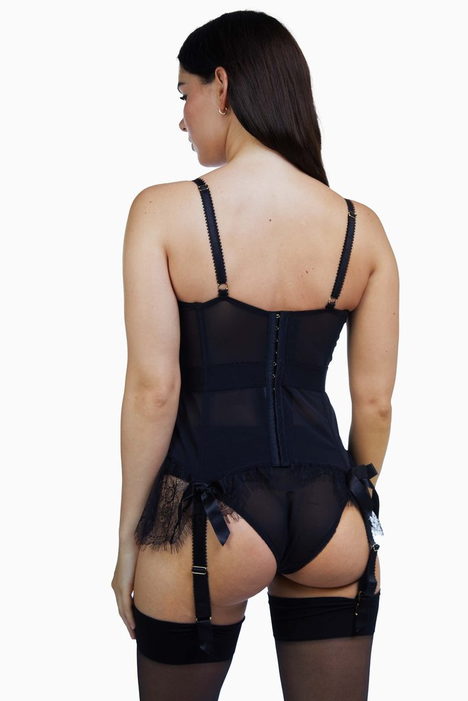 Bettie Page Tempest Black Lace Basque with Bows 32-38 A-E