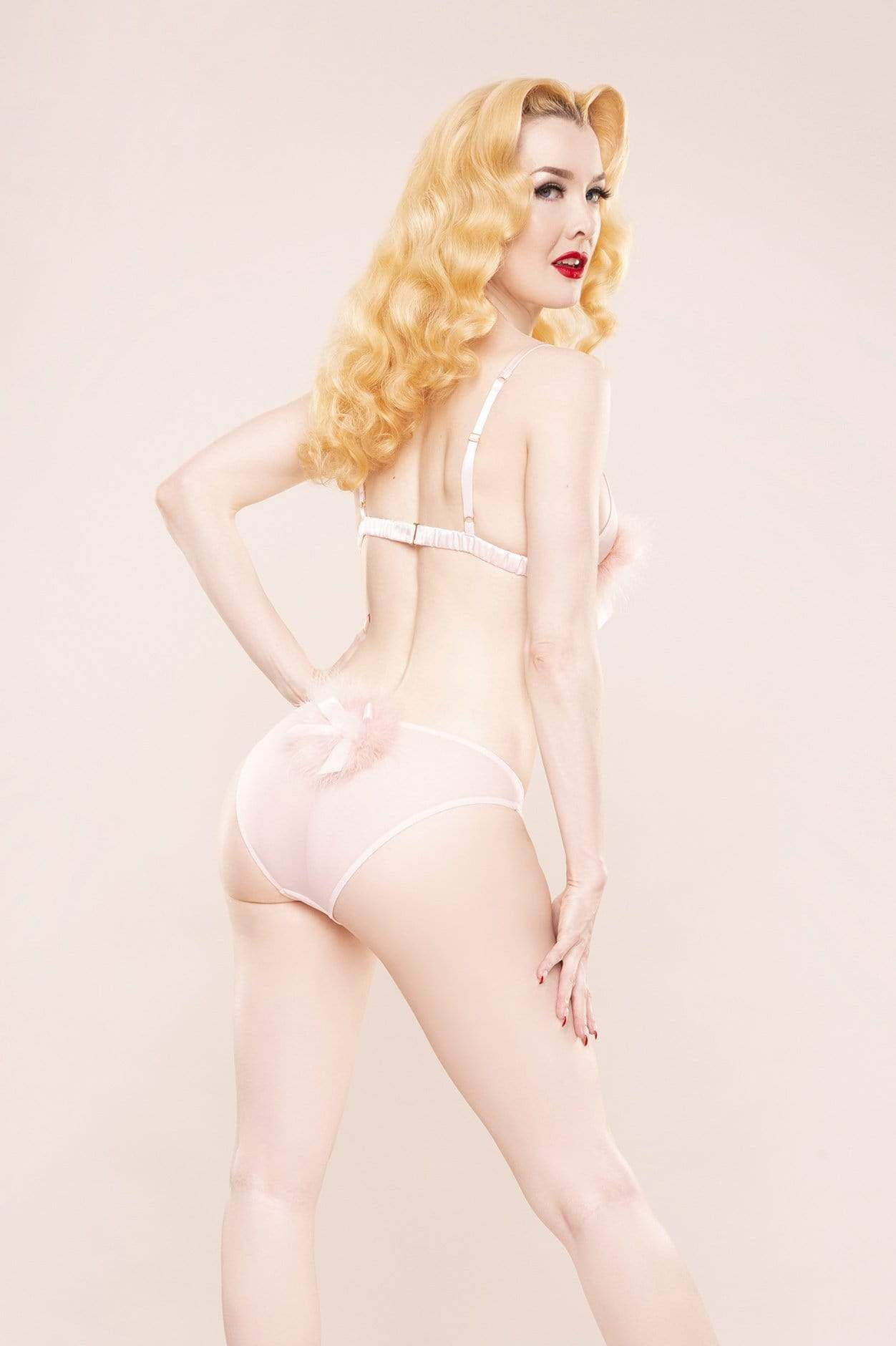 Bettie Page Powder Puff Triangle Bra Pink S-XL