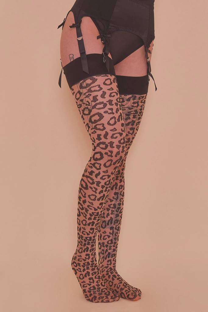 Bettie Page Leopard Knit Stockings Beige/Black XS-4XL