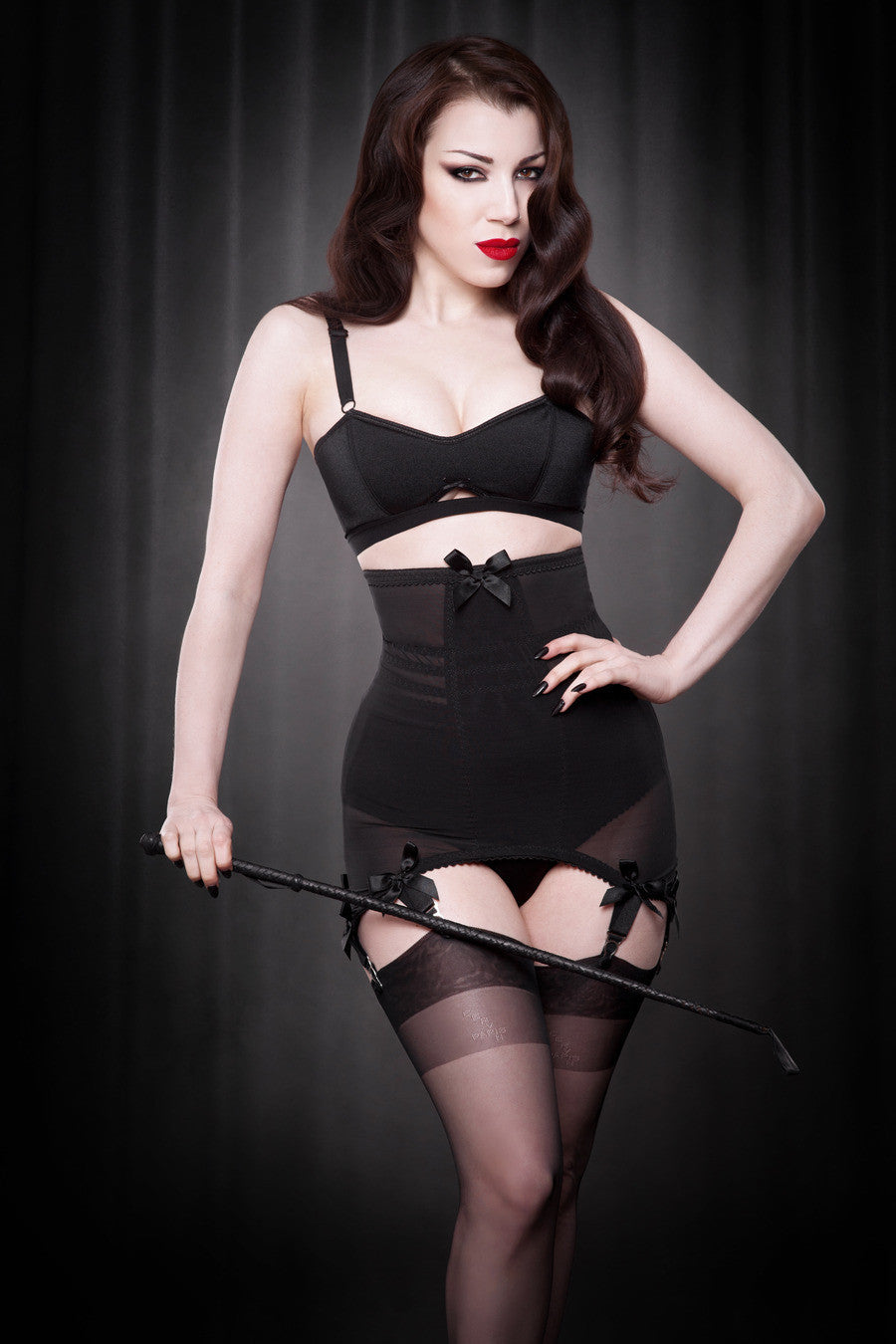 Kiss Me Deadly Retro Classics Longline Girdle in Black S-XL