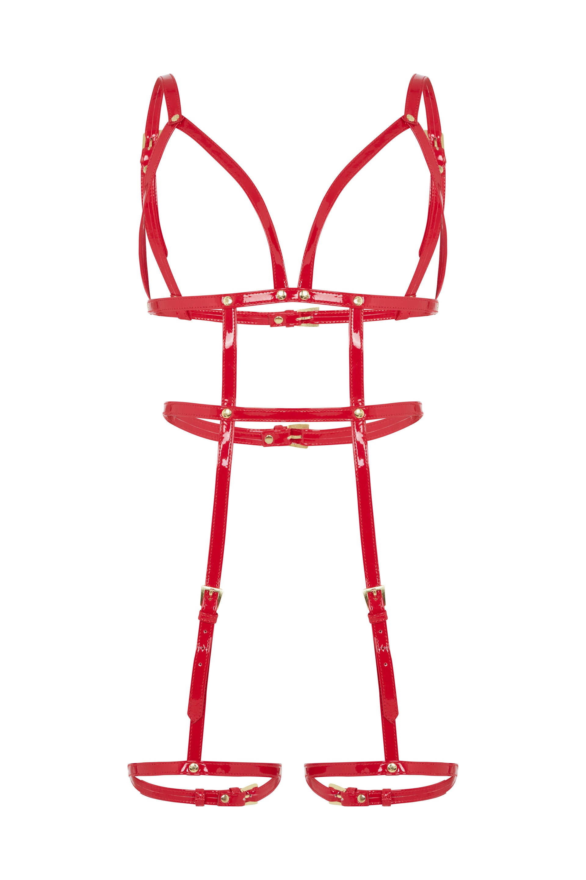 Regalia Open Harness Bra with Leg Cuffs Red