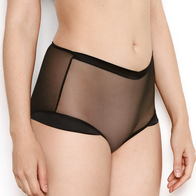 Katherine Hamilton Nina Sheer Black High Waisted Knickers