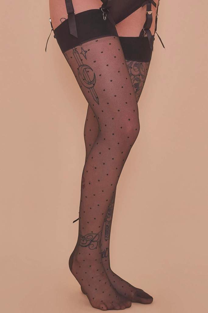 Playful Promises Dotty Seamed Stockings With Bow XS-4XL